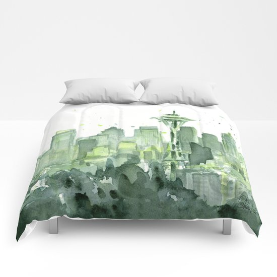 Seattle Watercolor Painting Comforters