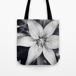 Black and White Lily Flower Photography, Grey Floral Art, Lillies Photo, Grey Lilly Nature Print Tote Bag