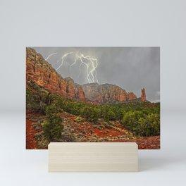 Storm over Sedona's Rabbit Ears Mini Art Print