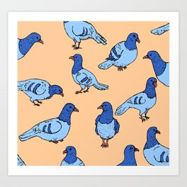 Pigeons in Blue Art Print