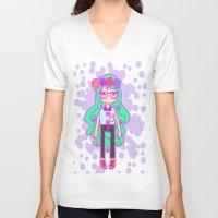 aqua V-neck T-shirts featuring Aqua by Glopesfirestar