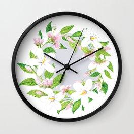 Jasmine Delight Silver Wall Clock