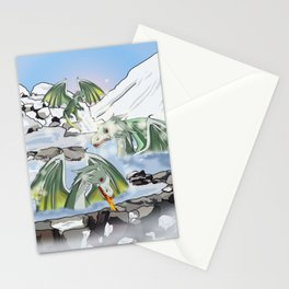 Dragons in a natural hot spring onsen Stationery Cards
