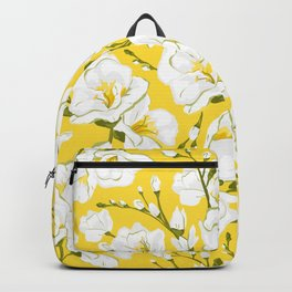 White freesia on a yellow background Backpack