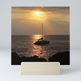 Sailboat Around the World With Exquisite Tropical Sunset Mini Art Print