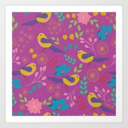 Pink Botanical Garden Art Print