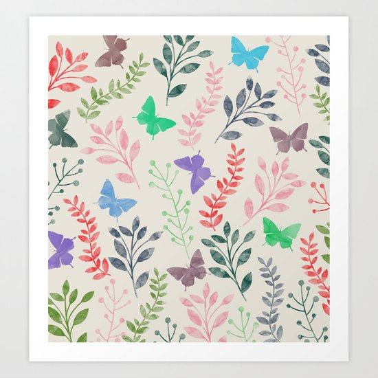 Watercolor flowers & butterflies Art Print