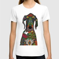 great dane T-shirts featuring Great Dane love white by Sharon Turner