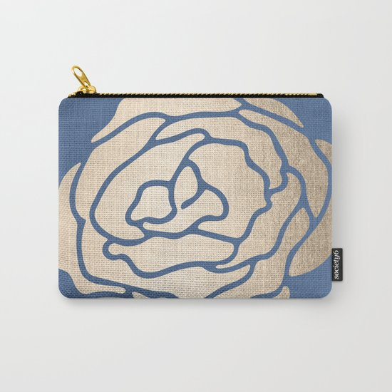 Rose White Gold Sands on Aegean Blue Carry-All Pouch