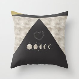 Silver Moon Phases Abstract Geometric Art Throw Pillow