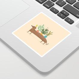 Dachshund & Parrot Sticker