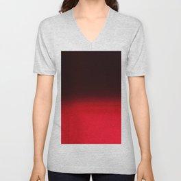Red Ombré Block Design Unisex V-Neck