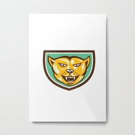 Puma Mountain Lion Head Shield Woodcut Metal Print