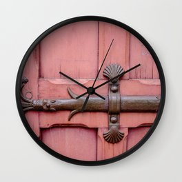 Red Door Architectural Detail in Paris Wall Clock