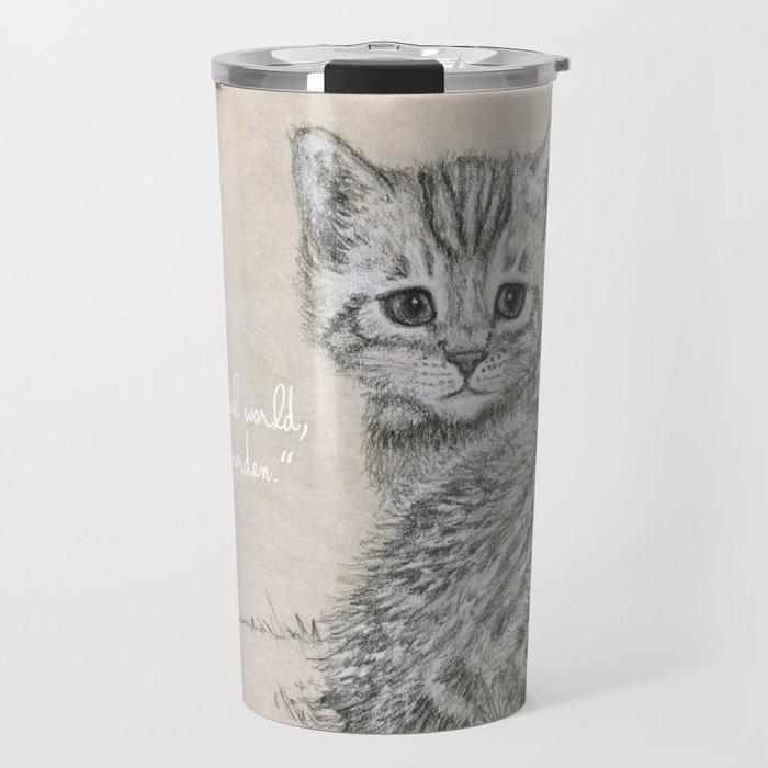 sad little kitten - rose of animal world Travel Mug