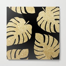 Gold Glitter Monstera Leaves Pattern Metal Print