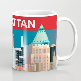 Manhattan, New York - Skyline Illustration by Loose Petals Coffee Mug
