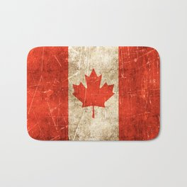 Vintage Aged and Scratched Canadian Flag Bath Mat