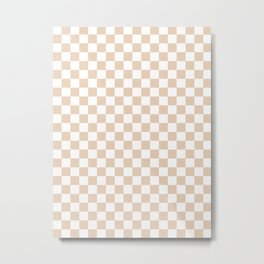 Small Checkered - White and Pastel Brown Metal Print