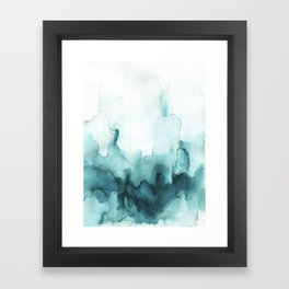 Soft teal abstract watercolor Framed Art Print