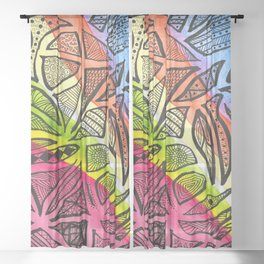 Rainbow Doodles Sheer Curtain