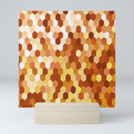 Honeycomb Pattern In Warm Mead and Honey Colors Mini Art Print