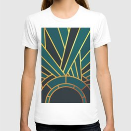Art Deco Sunset In Teal T-shirt
