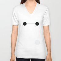 baymax V-neck T-shirts featuring Baymax by Adrian Mentus