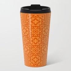 Orange Pattern Metal Travel Mug