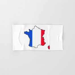 France Map with French Flag Hand & Bath Towel