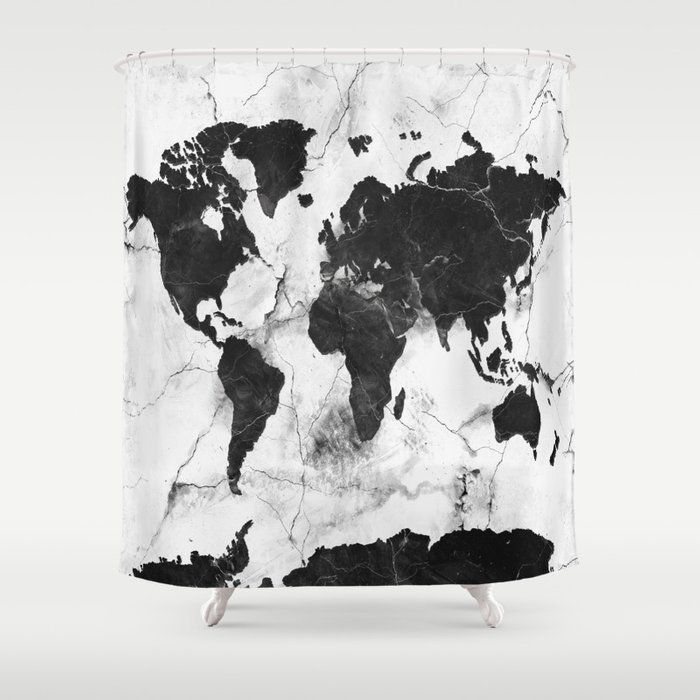 world map marble 3 shower curtain