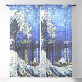 Starry Art Blue Wave Night Sheer Curtain