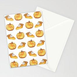 Pumpkin Pie Pattern Fall Watercolor Stationery Cards