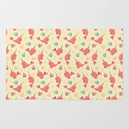 To the Window to the Narwhal - Coral & Cream Rug