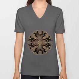 Lotus Mandala - Black and Gold Unisex V-Neck