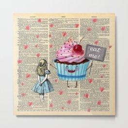Eat Me - Alice In Wonderland - Vintage Dictionary Page Metal Print