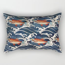 Japanese Redfish and Waves Rectangular Pillow