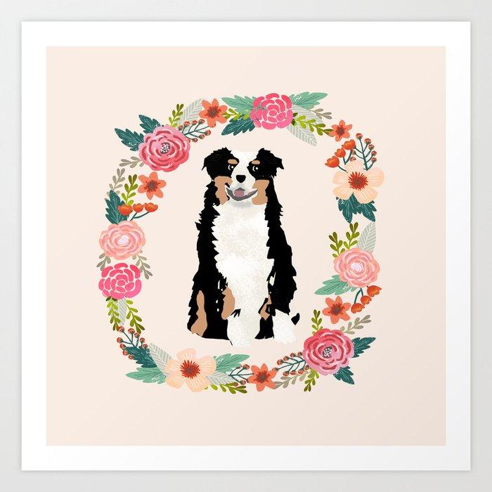 australian shepherd tricolored floral wreath dog gifts pet portraits Kunstdrucke