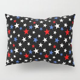 Bold Patriotic Stars In Red White and Blue on Black Pillow Sham