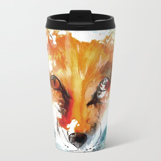 Wild wild Fox - Animal in the forest- watercolor illustration Metal Travel Mug