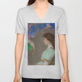 """Odilon Redon """"Portrait of Violett Heymann"""" Unisex V-Neck"""