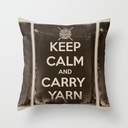 Keep Calm and Carry Yarn - Sepia Panel - Knitting Throw Pillow