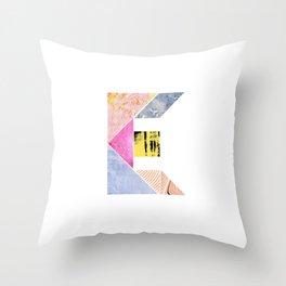 Collaged Tangram Alphabet - E Throw Pillow