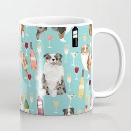 Australian Shepherd blue and red merle wine cocktails yappy hour pattern dog breed Coffee Mug