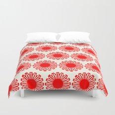 vintage flowers red Duvet Cover