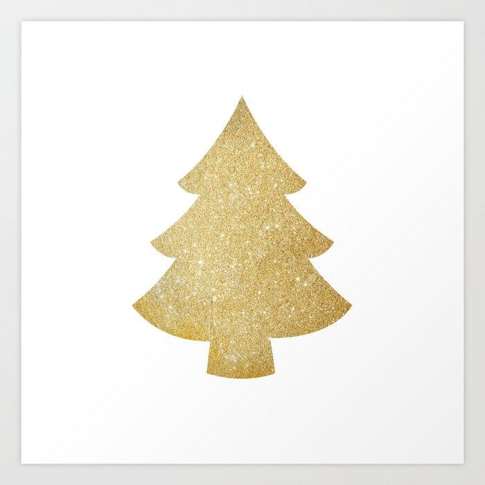 gold glitter christmas tree art print