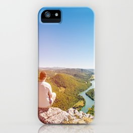Rear view men looking at Ain valley mountains in summer iPhone Case