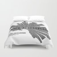 melbourne Duvet Covers featuring Melbourne Map by Shirt Urbanization