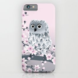 Cute Owl and Cherry Blossoms Pink Gray iPhone Case