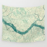 seoul Wall Tapestries featuring Seoul Map Blue Vintage by City Art Posters